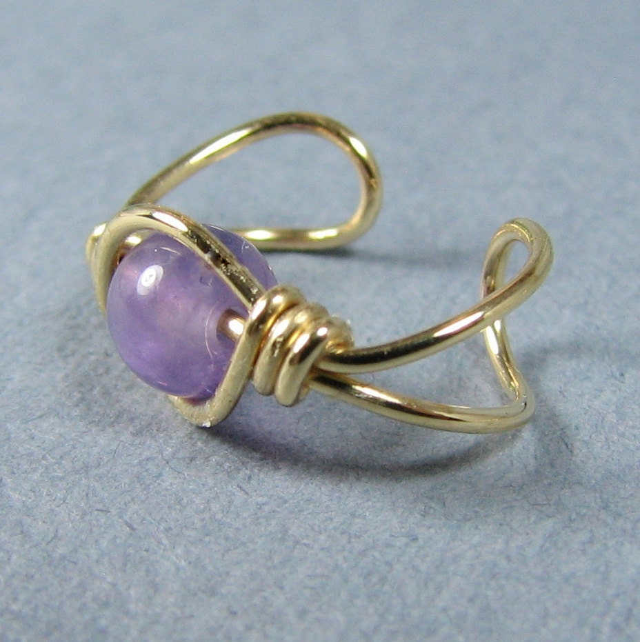14k Gold Filled Ear Cuff Cape Amethyst Gemstone