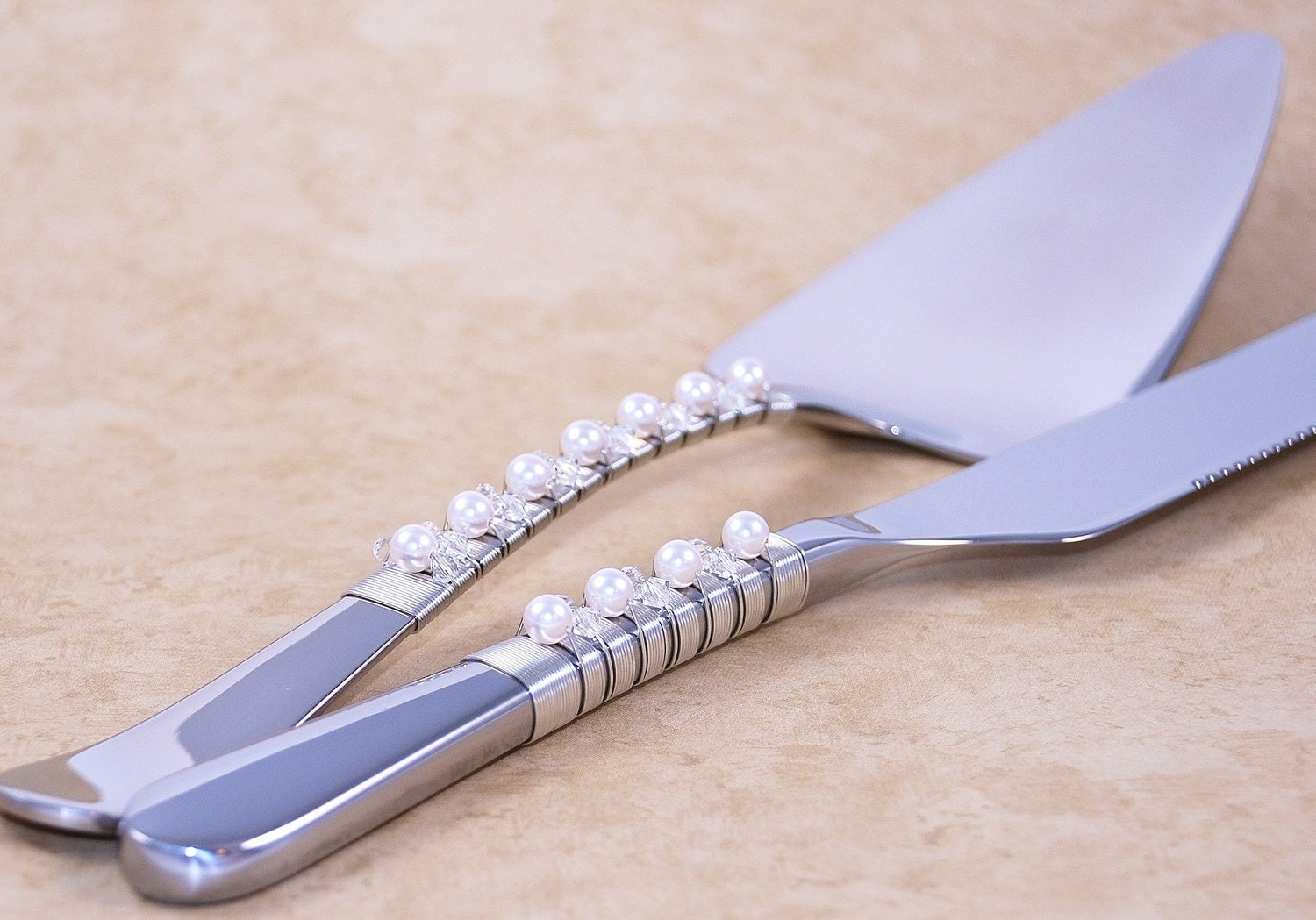 Wedding Cake Server And Knife Set Wire Wrapped In Silver And Hand