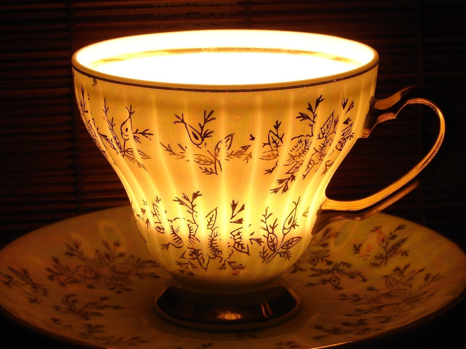 Golden Glamour tea cup Soy wax candle by TwilightSpells choose your favourite fragrance