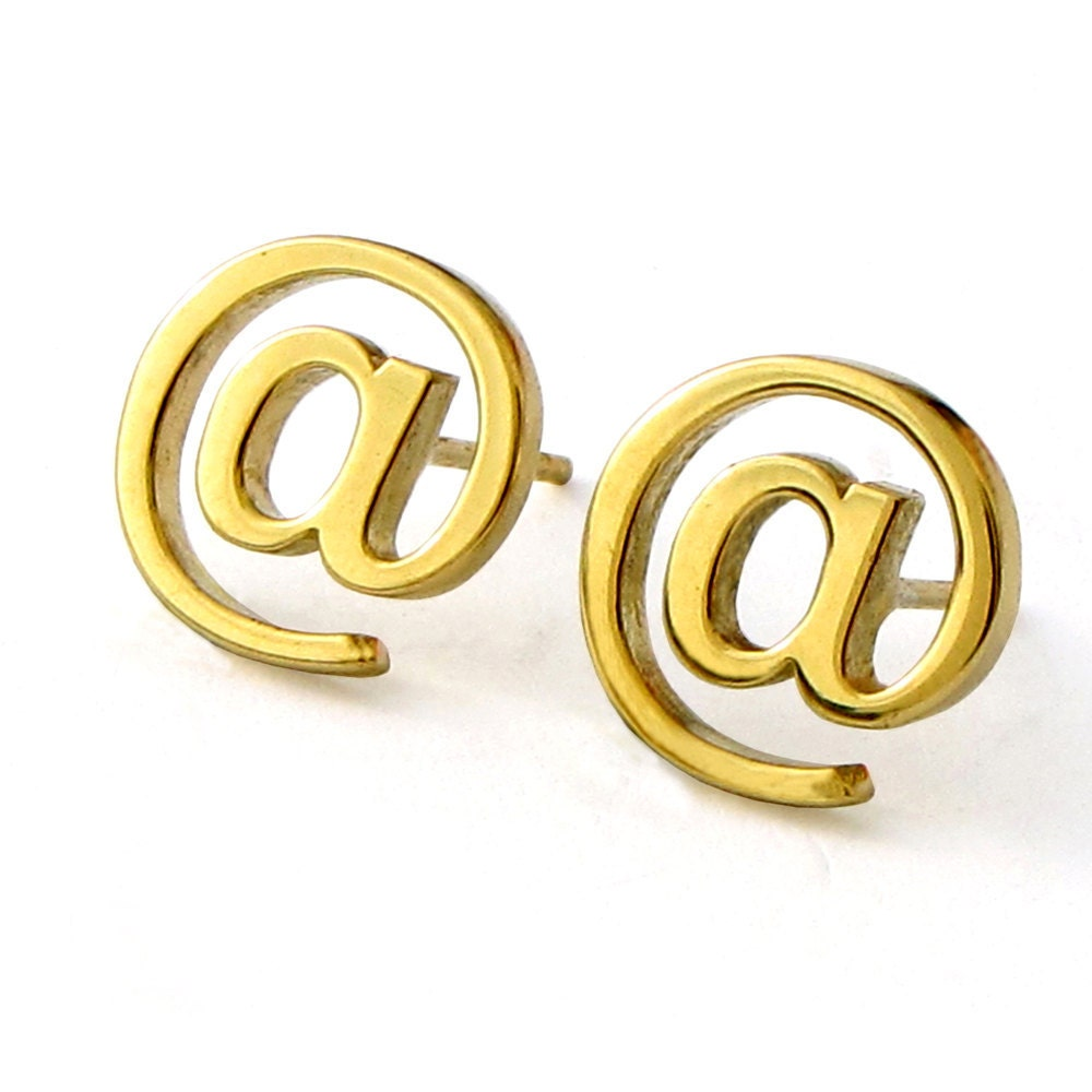 Email Internet Post Earrings 14k Gold Vermeil