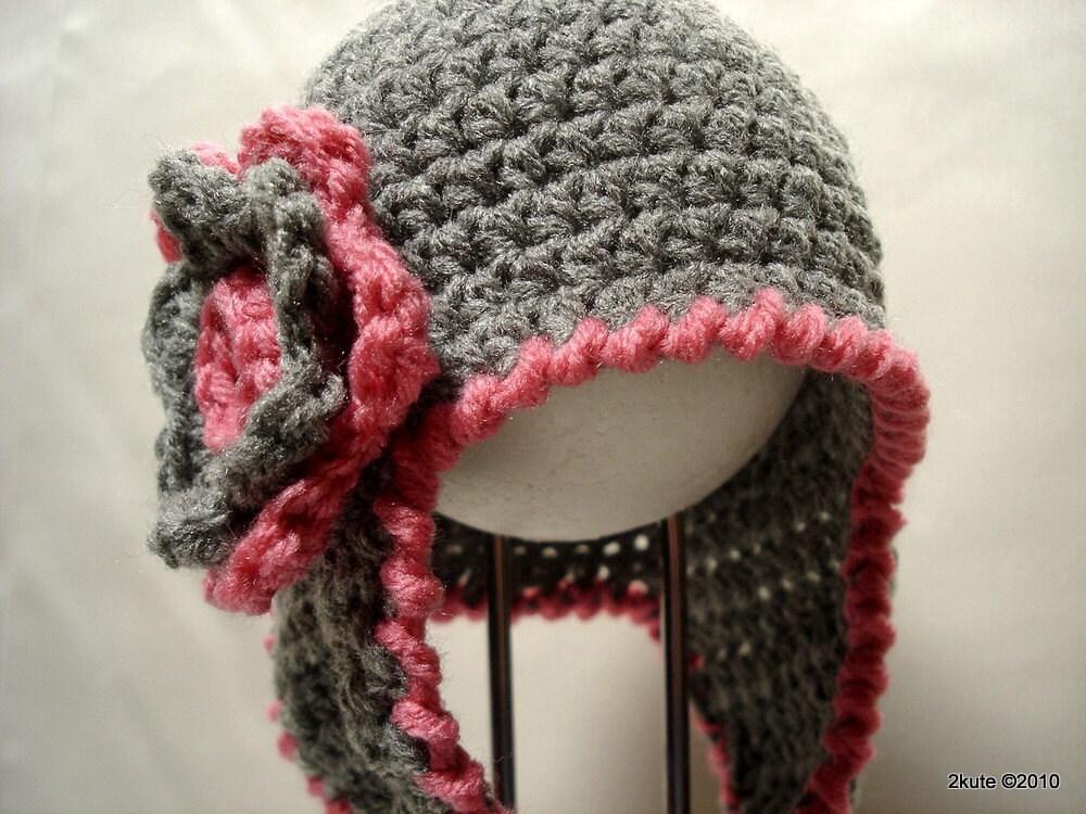Gray Earflap Girl Hat