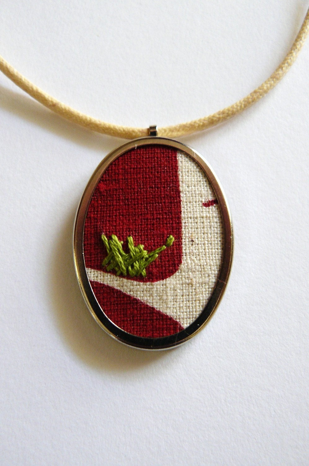 BrisStyle Handmade Ark Flood Appeal - Birds Nest Hand Embroidered Pendant Necklace