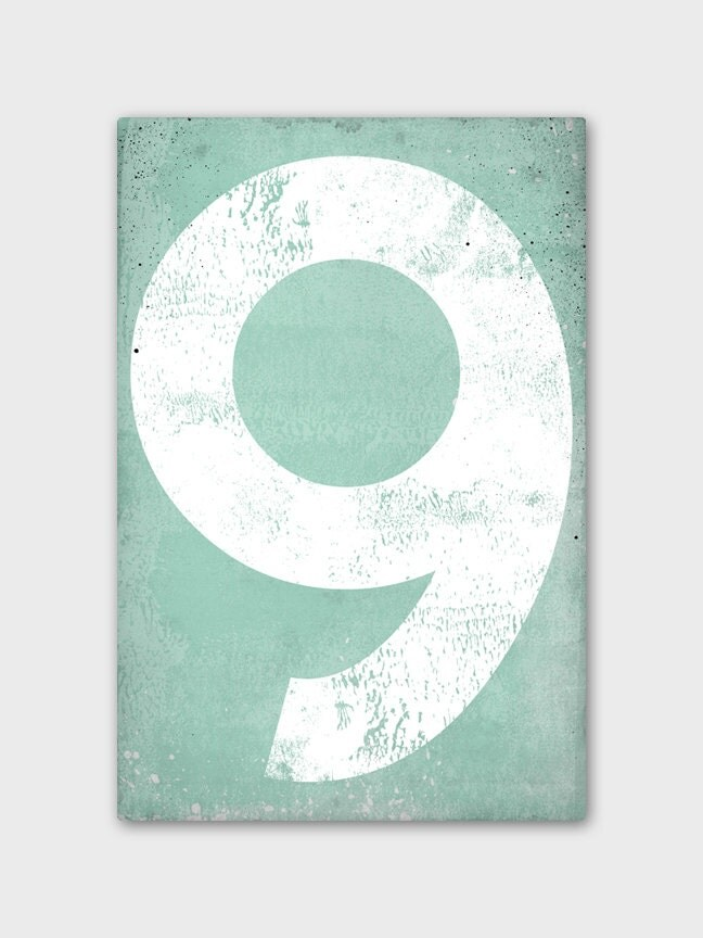 Mint Numeral Vintage-Style Gas Station Number  - Minty Gallery Wrapped Canvas Wall Art 12x16x1.5 by Ryan Fowler - nativevermont