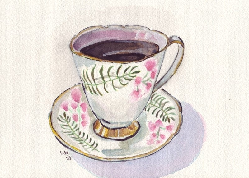Watercolor painting teacup art cup with coffee by jojolarue for Coffee watercolor