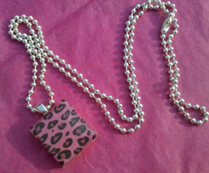 Pink Cheetah Scrabble Tile Necklace