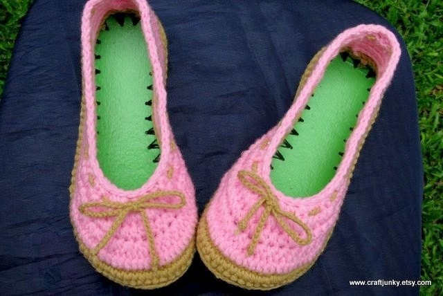 Ladies size 7 1/2 to 8 crocheted Indoor Slippers