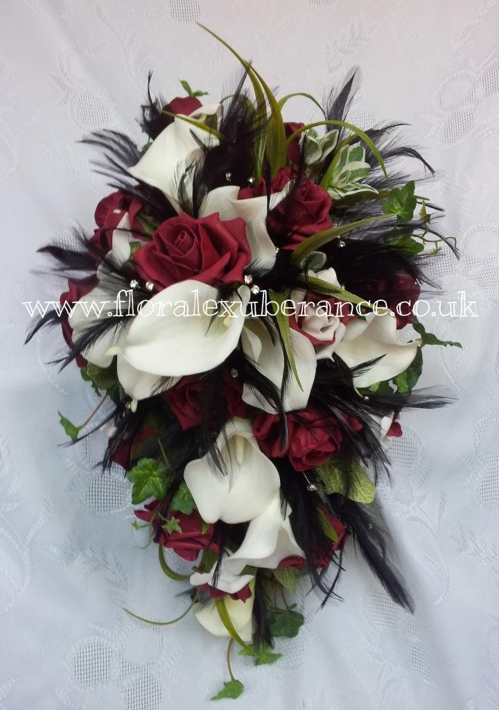 Artificial Burgandy Black Off White Gothic Cascading Bridal Bouquet RosesCalla Lily Black Feathers.