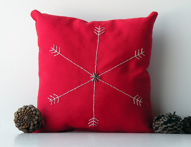 Small Gray Decorative Pillow : Items similar to Small red cotton decorative pillow with gray embroidered snowflake and dark ...