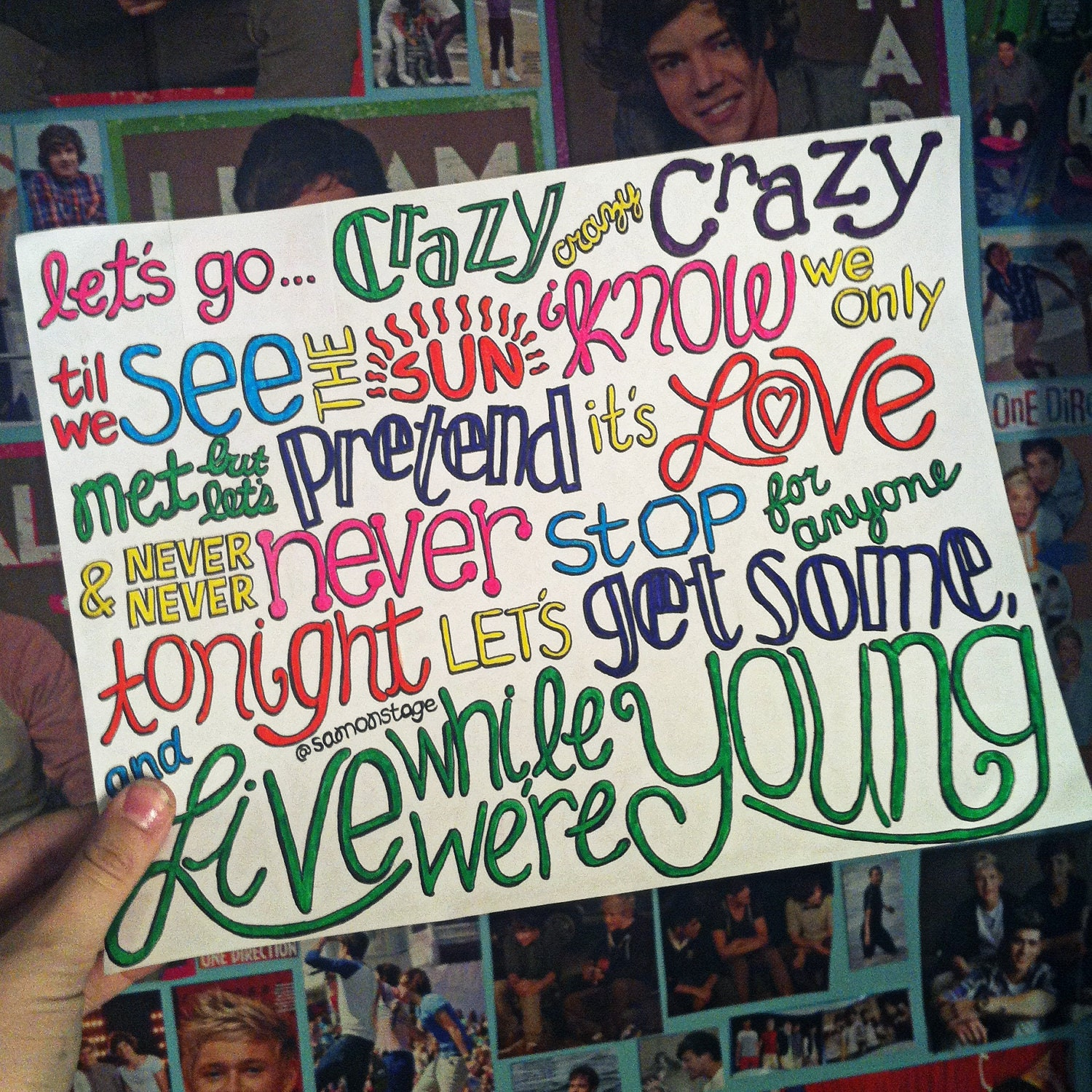 One Direction Song Lyric Drawings Lyrics to Your Song by One