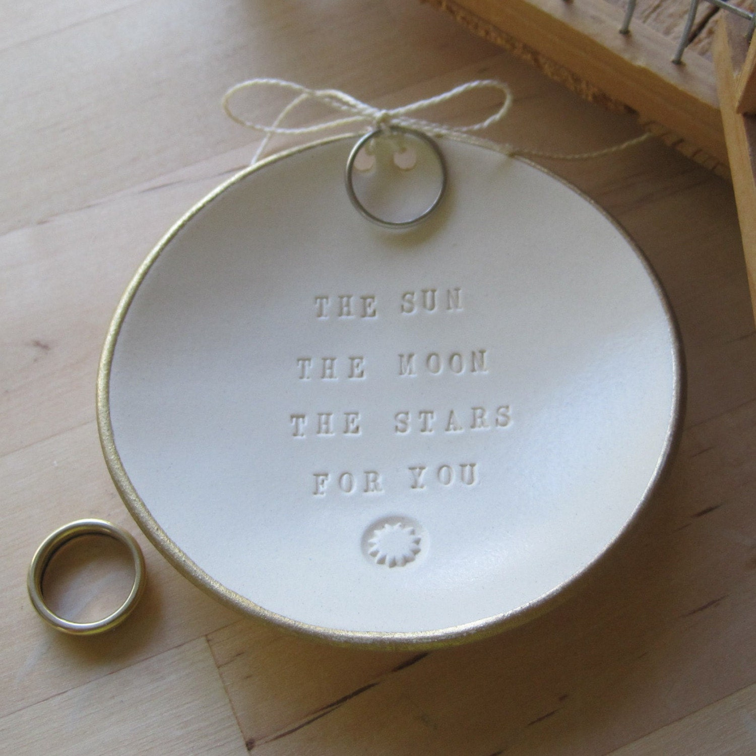 as seen in Martha Stewart Weddings Magazine THE SUN THE MOON THE STARS FOR YOU ring bearer bowl (TM) with gold leaf edge by Paloma's Nest- wedding or commitment ceremony