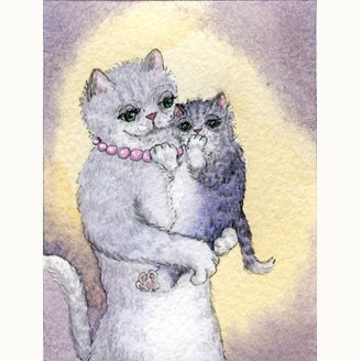 Tabby cat and shy kitten - signed print