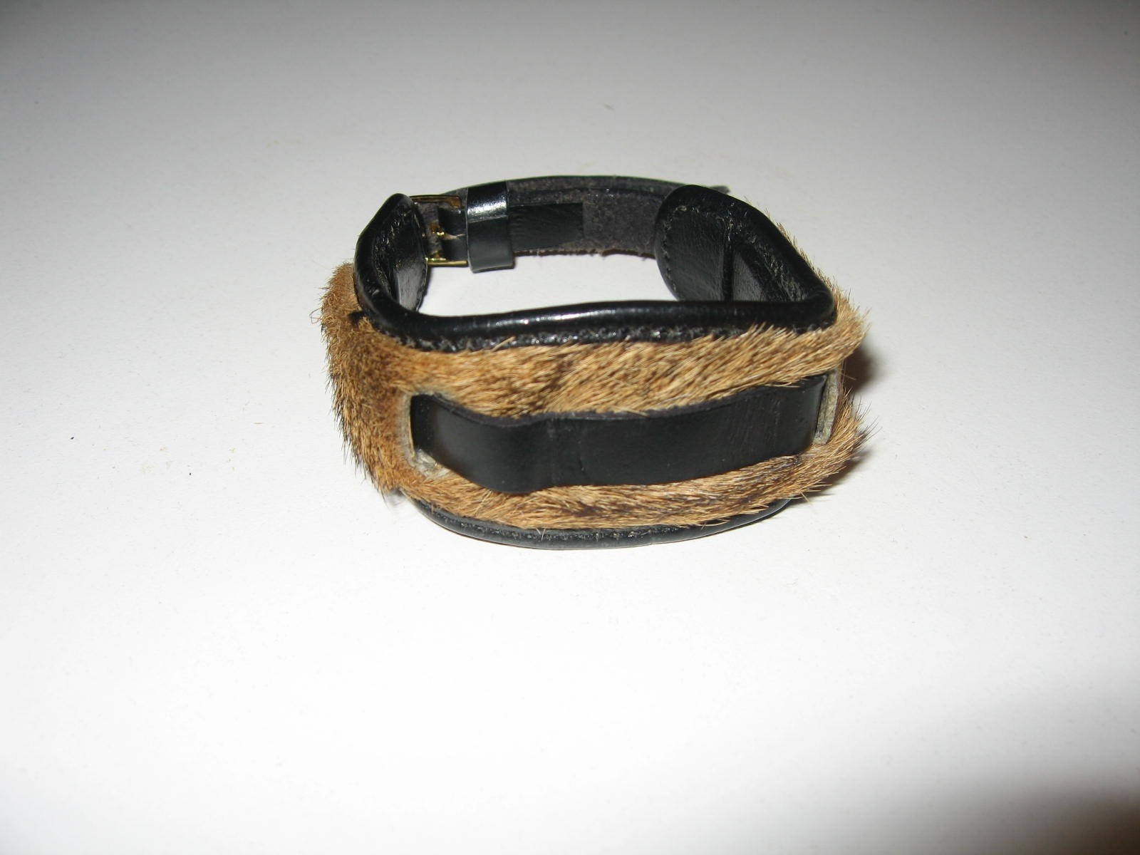 70's Fur Leather African Watch Band Black and Browns Womans