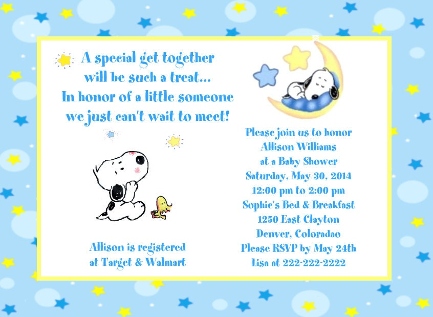 Snoopy Baby Shower Invitations and get inspiration to create nice invitation ideas