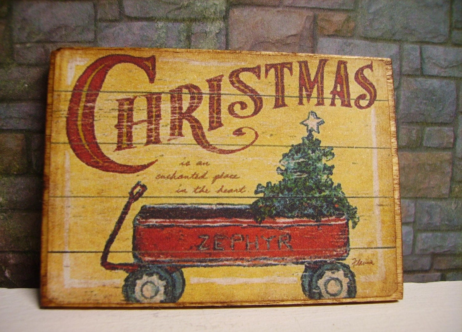 Christmas Miniature Wooden Plaque 1:12 scale - LeClosDesLavandes