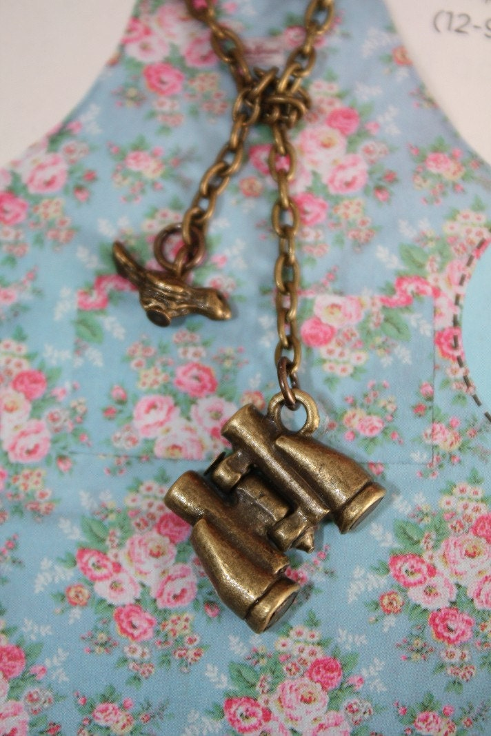 Bird Watcher Lariat Necklace with tiny bird and binoculars