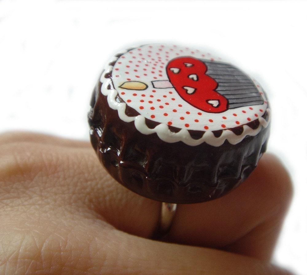 Red Cupcake Heart Sprinkle Painted Bottle Cap Big Ring
