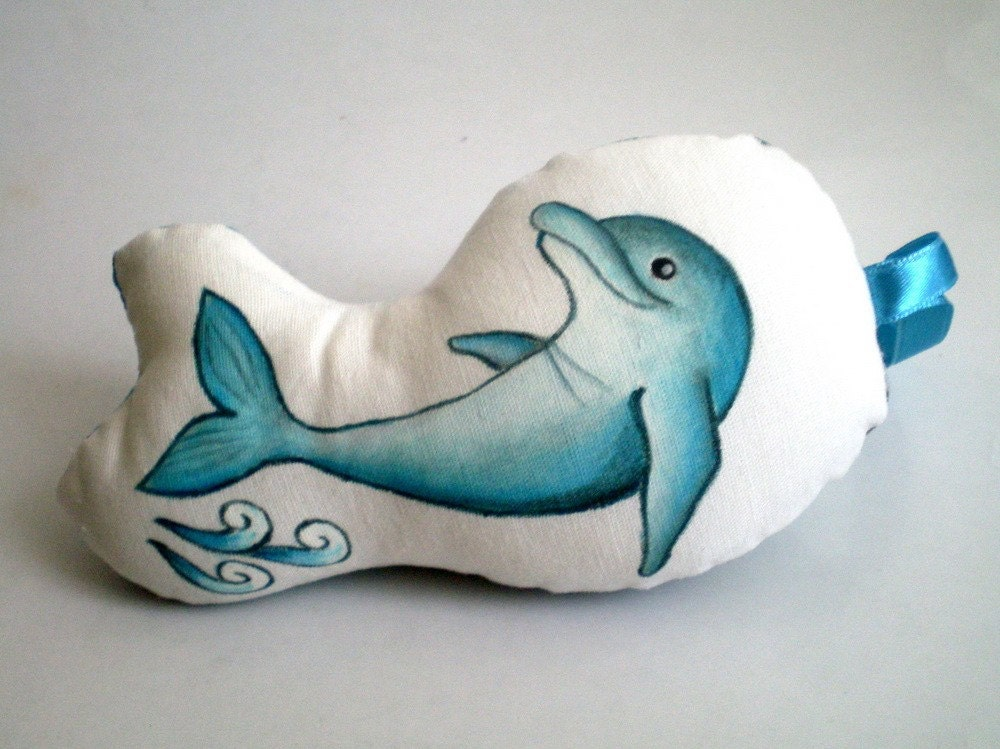 Gray Blue Dolphin Plush Ornament Doll, Unique hand painted Holidays Christmas Gift under 25