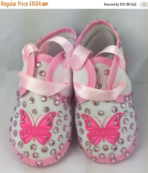 ON SALE Cotton Newborn Baby Infant Its a Girl Embellished crib shoes Special Occasion  Pageant Wear Baby Shower Baptism Wedding