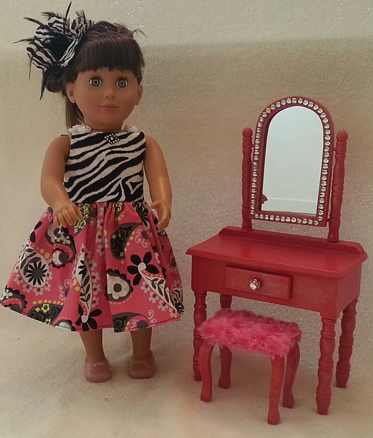 Items Similar To Beautiful Sparkling Hot Pink Doll Vanity