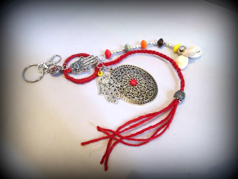 Bohemian key chainboho key ringgypsy key ringhamsa key chainlong key ringbag charmcowrie shell key ring