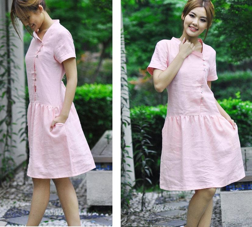لباس کتانی زیبا با نامتقارن شوی یقه / 18 رنگ / در همه اندازه ها