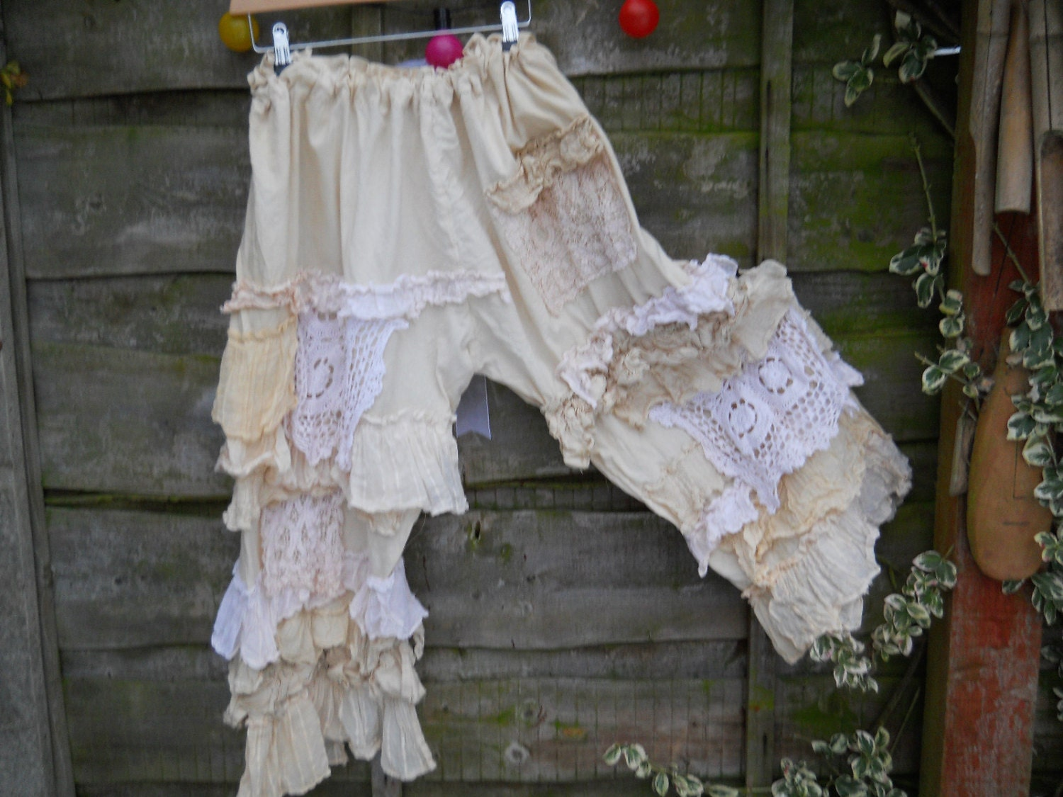 Cream Pearl vintage Antique Shabby Chic  Lace  Victorian Midwest Lagenlook Bloomers Trousers OSFM w The Signature RitaNoTiara Magnolia Bow