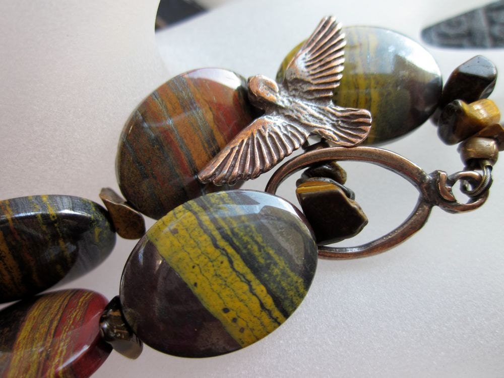Tiger Iron, Tiger Eye, Shibuichi Bird Toggle, Antique Brass-Exotic Flight Bracelet