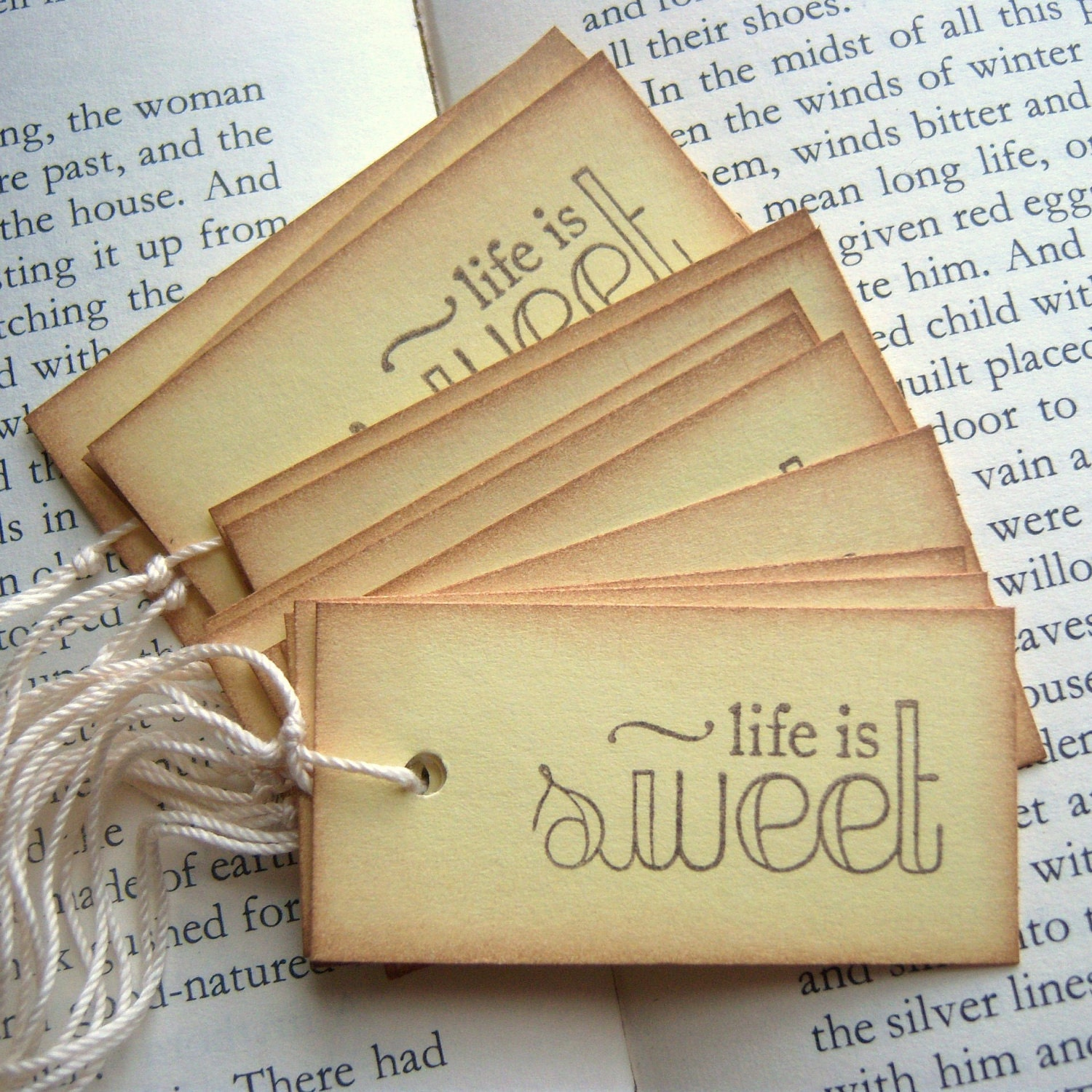 Life is SWEET Yellow and Vintage Inspired Hang Tags - SweetlyScrappedArt