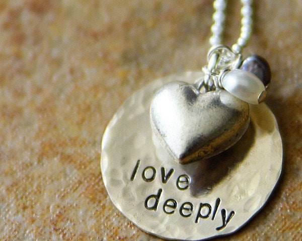 love deeply. a hand stamped sterling necklace.