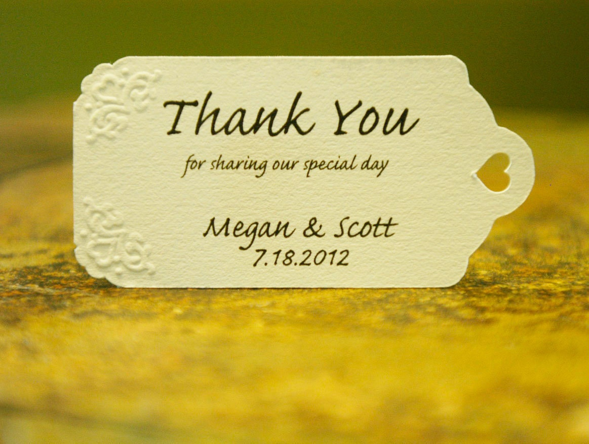 Embossed Wedding Favor Tags (75) - Personalized Thank You Tags, Your Colors, Your Letters.Perfect for Wedding or Party Favors