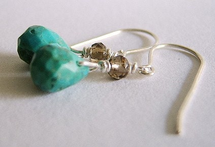 Naya Handcrafted Natural Turquoise and Smoky Quartz Earrings