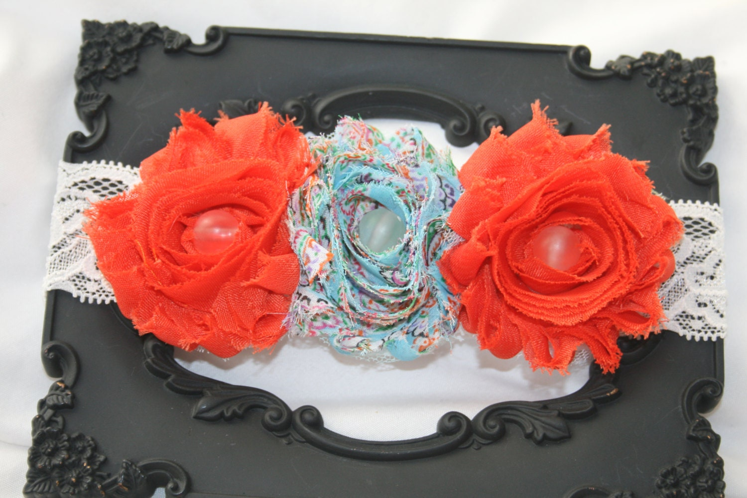 Orange blue headband, photo prop, 3 flower headband, shabby chic headband, flower headband, pageant headband, girls headband, baby headband - RockabillyBabyPlace