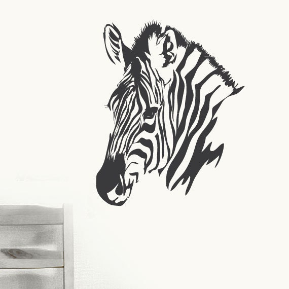 Zebra Head Wall Decor : Wall decal zebra head vinyl art decor by modernwalldecal