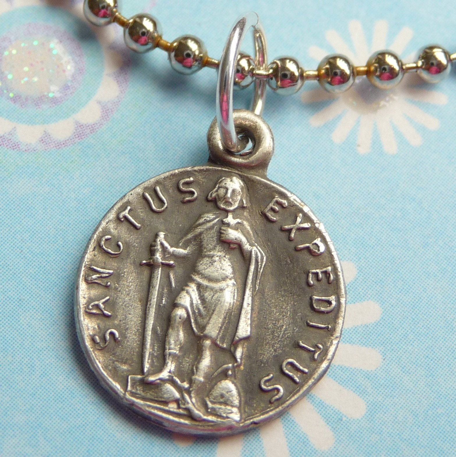 St Expedite Medal - Patron saint of procrastinators and merchants - Hand cast in fine silver