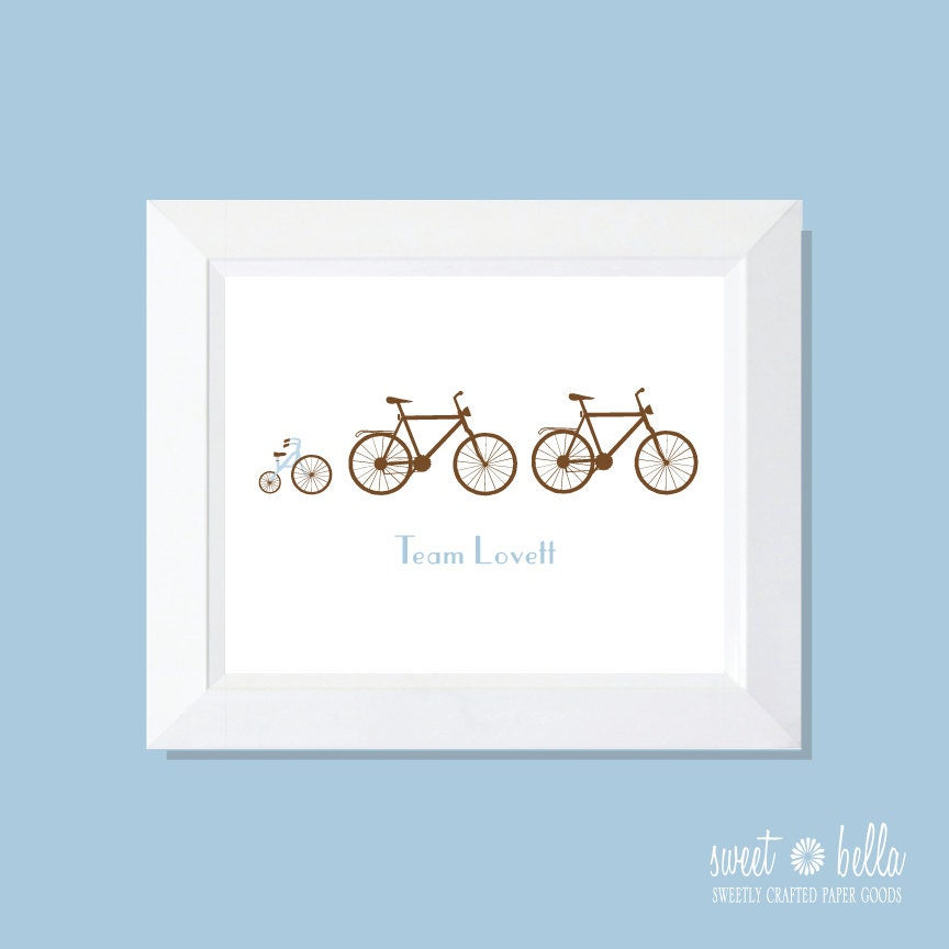 Personalized Family Print . Wall Print . Family Print . Wall Art . Bike Print . Family Art - Family of Bikes Print - SweetBellaStationery