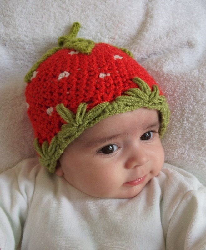 Strawberry Hat Crocheted Baby Hat for Baby by myknittingworld