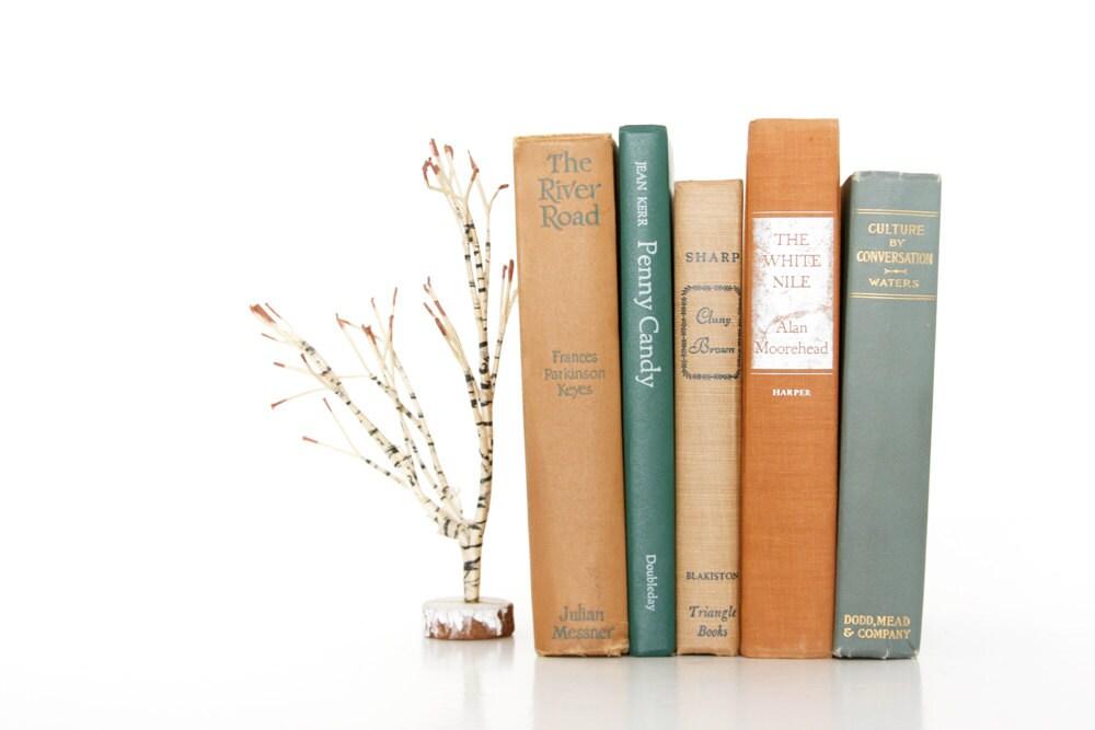 Terracotta and Teal Green Fall Book Collection // Vintage Book Decor // Natural Wedding Decor // Autumn Harvest // Rustic Farmhouse - VintageScholar