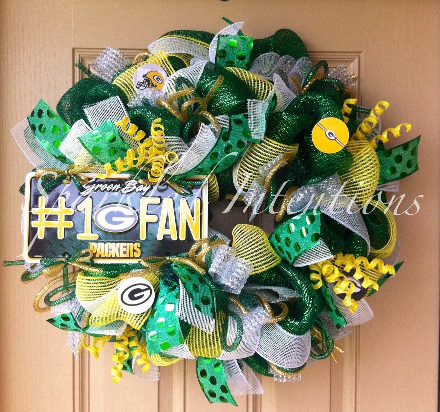 Green Bay Packers Deco Mesh Wreath By Sparkledintentions