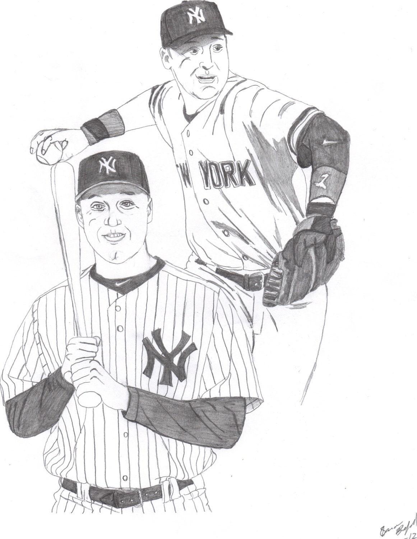 Derek Jeter Original Drawing Sketch New York Yankees By Derek Jeter Coloring Pages