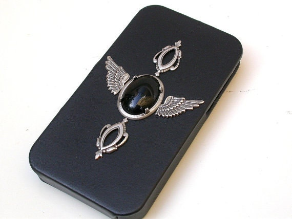iPhone 4 and 4s Gothic Flip Case - Men Women Black Leather iPhone Case - iPhone Accessories - PetitBoudoirNoir