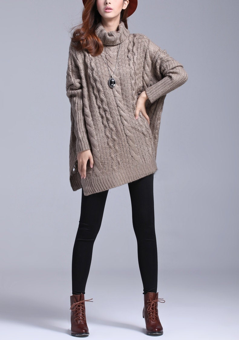 Coffee wool sweater women sweater loose sweater long sleeve sweater coat sweater winter autumn spring --SW117 - happyfamilyjudy