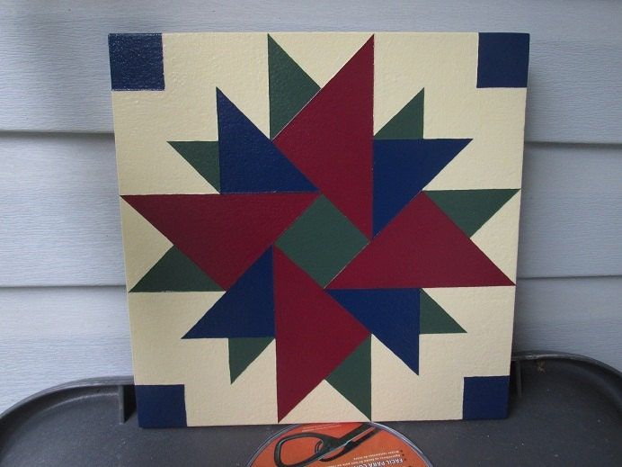 """Items similar to Barn Quilt """"Double Aster"""" quilt pattern ..."""