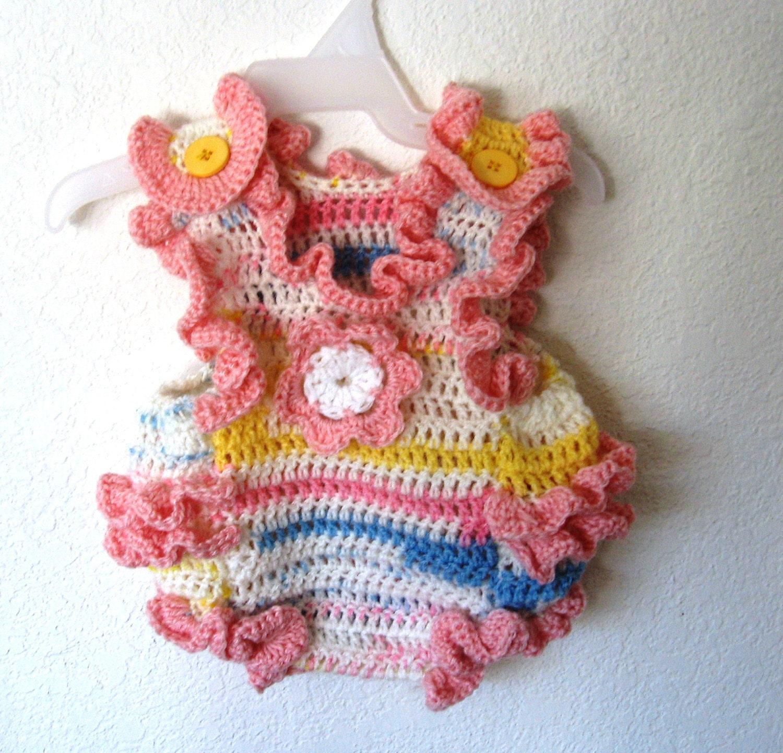 Crochet Romper : Crochet Baby Girl Sunsuit Onesie Romper with Flower