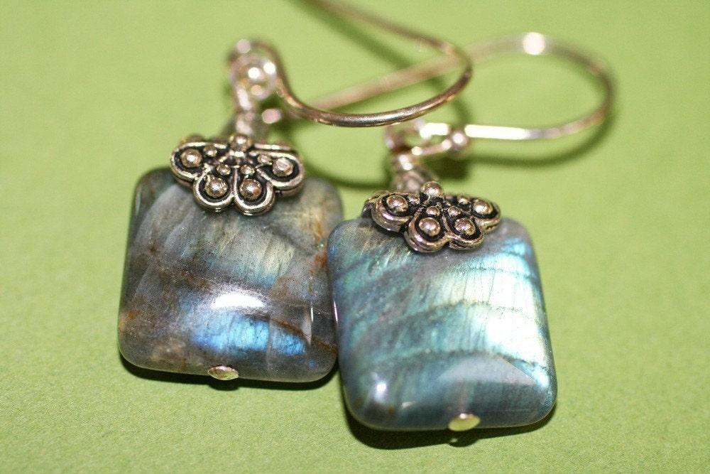 Square Labradorite Gemstone Earrings