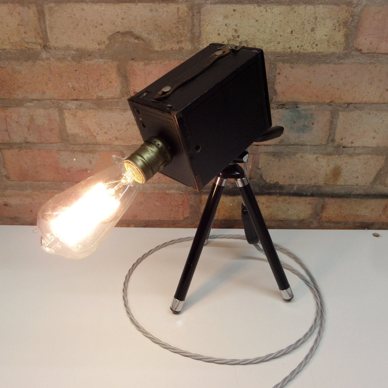 Vintage retro kodak brownie camera. Deskfloor Lamp with Edison bulb with tripod  christmas delivery if ordered by 2pm on the 23rd december
