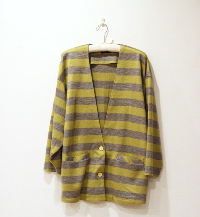 Vintage Mustard Yellow and Gray Stripes Oversize Jacket