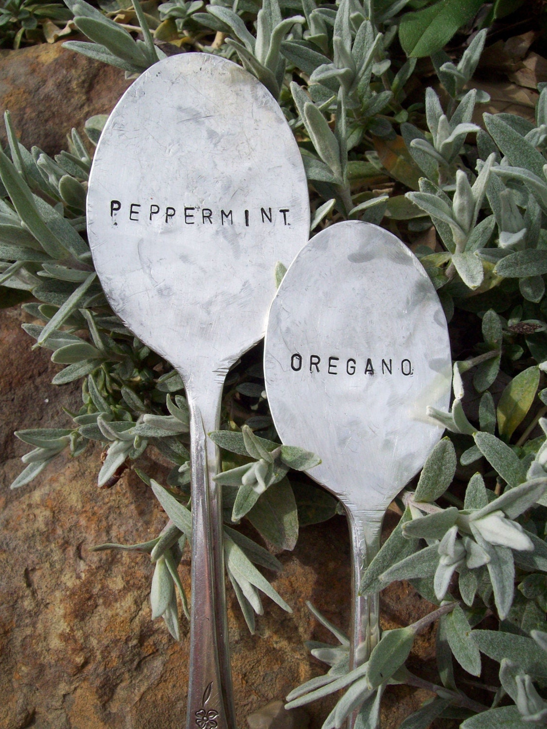 Custom Vintage Spoon and Fork Garden Markers- Set of 3 (choose your own words)