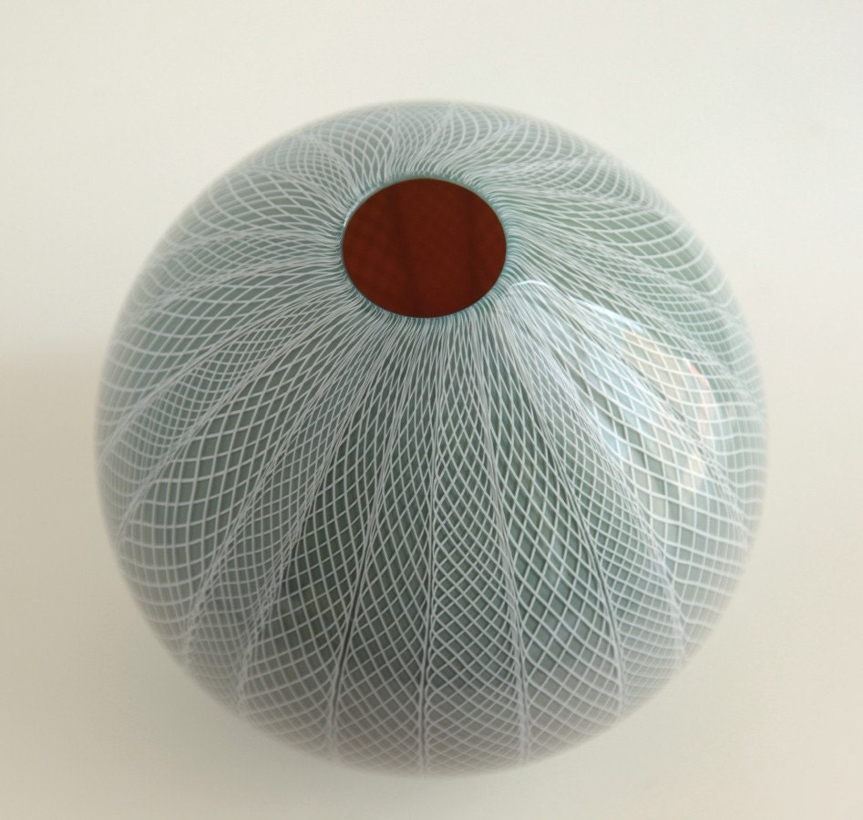 Slate Grey and White Blown Glass Vase