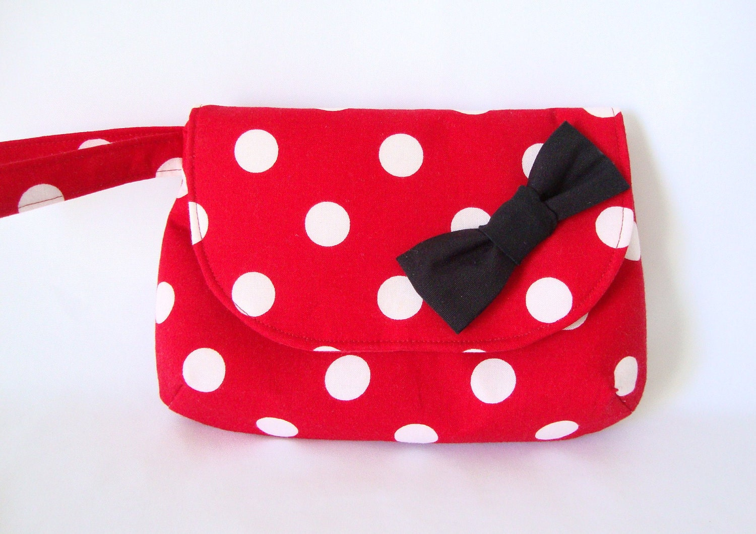 Wristlet Clutch in Red White Polka Dots with Black Bow - PoshPursesBoutique