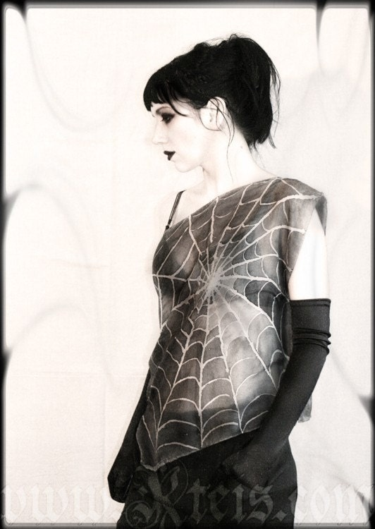 Gothic silk blouse - gray top tank - spider web - Kteis